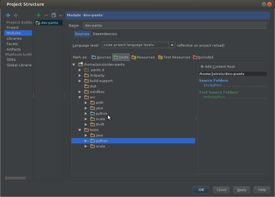 Pants Development with IntelliJ IDEA